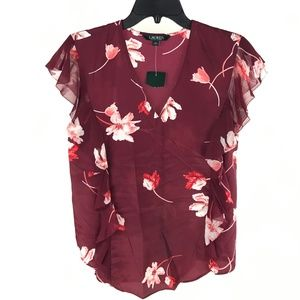 Ralph Lauren Burgundy Purple Floral Flutter Blouse